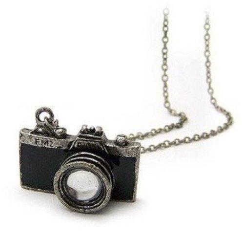 Gleader Collana macchina fotografica antica in nera
