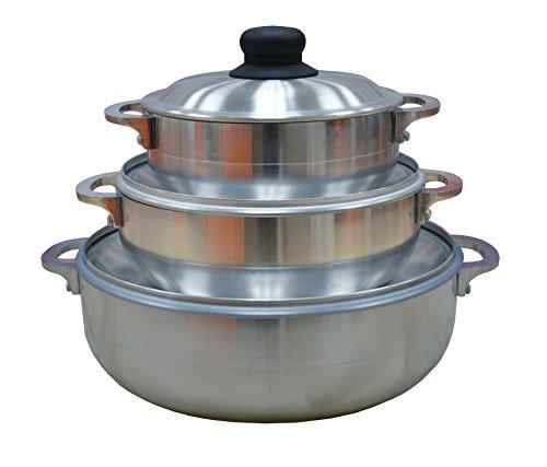 Imusa Stamped Aluminum Caldero Three Piece Set, 18, 22 and 28 Centimeter (Rice Pot Caldero compare prices)