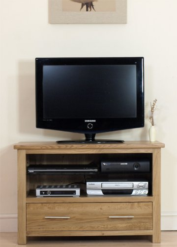 OSLO SOLID OAK  &  GLASS TV HI-FI CABINET UNIT FURNITURE