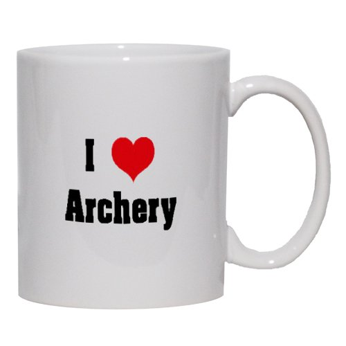 I Love/Heart Archery Mug for Coffee / Hot Beverage (choice of sizes and colors)