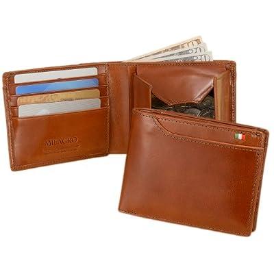 イタリア製ヌメ革 BOX小銭入れ21ポケット二つ折り財布[テラローザブラウン][BESPOKE社/Milagro]CAS2108