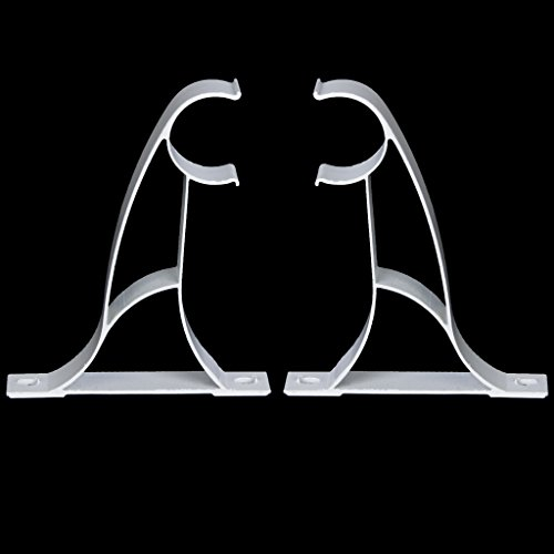 2pcs Supports de Tringle à Rideau en Métal pour 25mm Tringle - Blanc