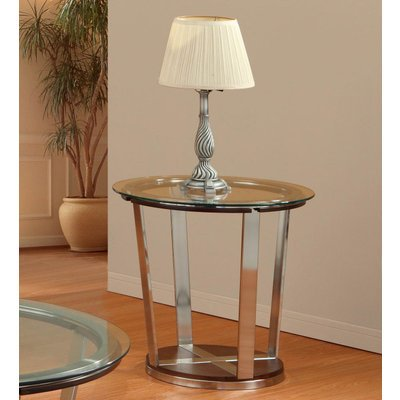 Image of Homelegance Dunham Round Glass End Table w/ Metal Legs (3304-04-G)
