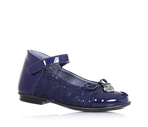 LIU JO - Ballerina blu in vernice e pizzo, con chiusura a strappo, fiocchetto applicato sulla parte anteriore, cuoricino metallico logato, Bambina, Ragazza-28