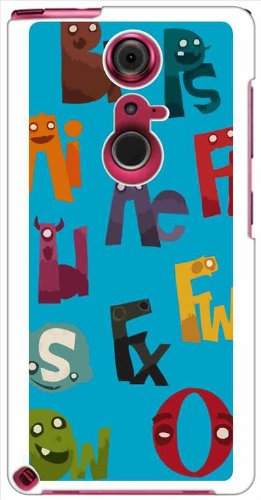 sslink F-05F ARROWS NX アローズ TPU ケース ca544-2 イラスト アルファベット ロゴ モンスター ブルー TPUケース TPUカバー ソフトケース カバー ジャケット スマートフォン スマホケース docomo