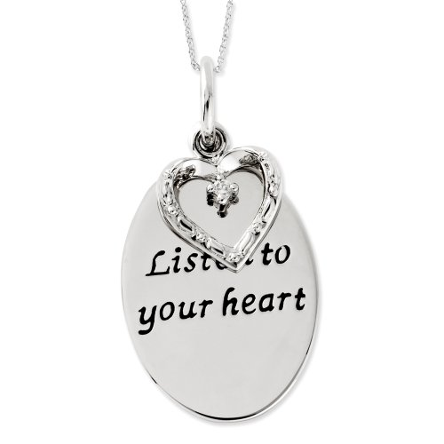 Sterling Silver Listen To Your Heart Sentimental Expressions Necklace