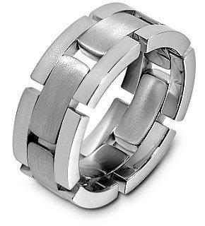 Unique 14 Karat White Gold Designer Link Style Wedding Band Ring - 12.25