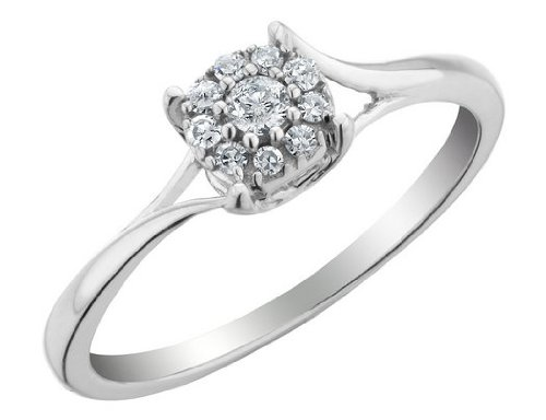 Diamond Promise Ring Ring 1/6 Carat (ctw) in Sterling Silver