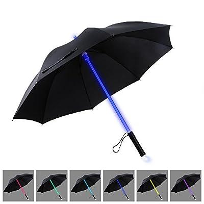 YIER LED Lichtschwert Light Up schwarz Klar Regenschirm mit 7 Farbe