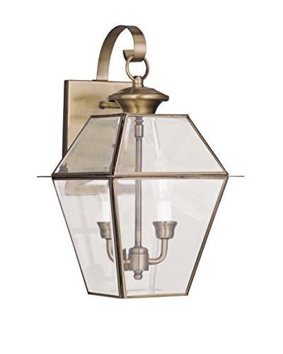 Crestwood Wanda 2-Light Wall Light, Antique Brass