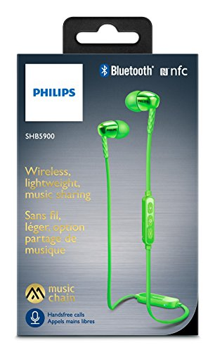Philips SHB5900GN Cuffie Wireless Bluetooth In-Ear con NFC, Verde