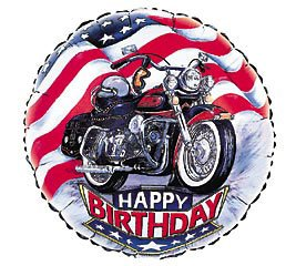 """Harley"" Happy Birthday Mylar Balloon 18"" Motorcycle - 1"