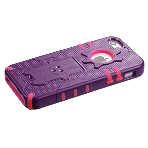 Mybat Iphone 5C Phantom Hybrid Protector Cover - Retail Packaging - Purple/Hot Pink front-868698