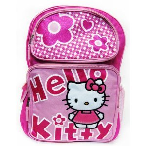 Hello Kitty Black Large 16″ Backpack with Water Bottle Pink