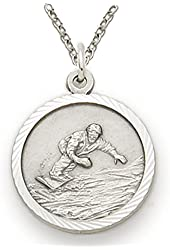 """.925 Sterling Silver Snowboarding 3/4"""" Medal Pendant St. Christopher on Back Boys Sports Patron comes with a 20'' chain Necklace in a deluxe velvet box"""