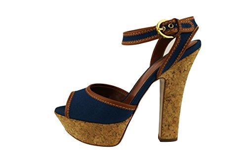 SERGIO ROSSI sandali donna blu cuoio tessuto pelle AH734 (40 EU)