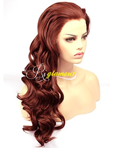 Riglamour Wavy Dark Red Brown Wig Half Hand Tied 100% Fiber Hair Synthetic Lace Front Wigs for Women #350 (Dark Red Wig compare prices)
