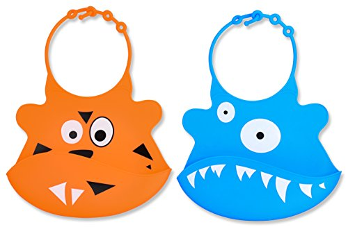 [Best Silicone Plastic Baby Bibs with Food Pocket From Jamika Products - 2 Bib Set - Great Baby Food Bib - Made of Waterproof Washable Scentless Silicone Plastic - Perfect for Infants & Babies Money-back] (Cleveland Costumes)