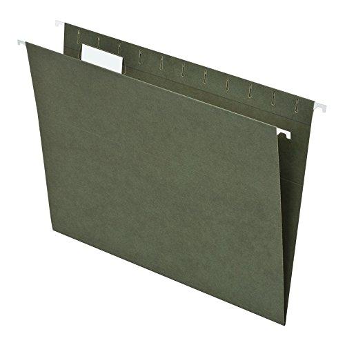 Pendaflex Essentials Hanging Folders, Letter Size, 1/5 Cut Tabs, Standard Green, 25 per Box (81602)