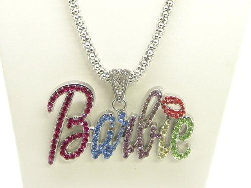 Nicki Minaj Barbie Necklace Large Silver with Multi Stone
