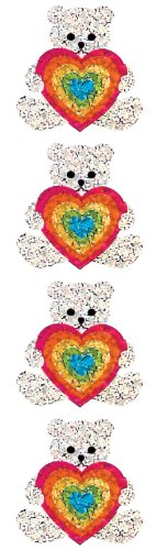 Jillson Roberts Prismatic Stickers, Teddy and Rainbow Heart, 12-Sheet Count (S7123)