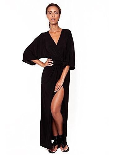 Cc Usa Helga Kimono Vneck Wrap Half Sleeves Elegant Evening Party Long Maxi Dress - Small - Black