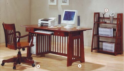 Buy Low Price Comfortable New Brown Home Office Wooden Computer PC Wood Desk (B001DDGHJQ)