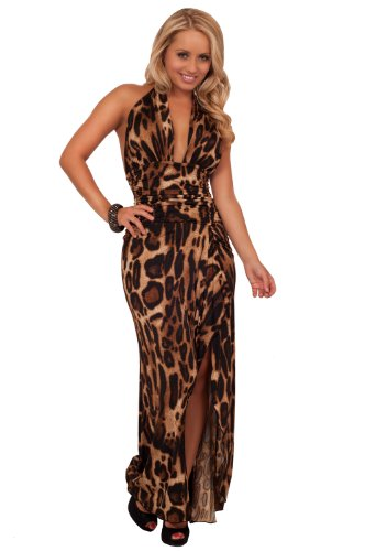 V Neck Hatler Maxi Sexy Slit Bare Back Formal Full Length Evening Party Dress