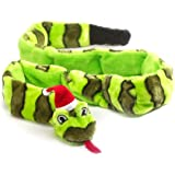 Outward Hound Kyjen  2628 Invincibles Holiday Ginormous Snake Dog 12 Squeak Dog Toys with Hat, Large, Green