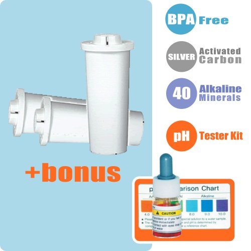 Waterman Portable Alkaline Water Purifier Replacement Filters (3 Count) + Water Ph Testing Kit