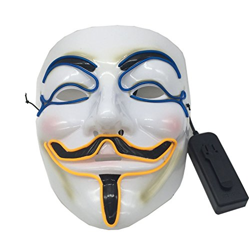 Light Up V for Vendetta Mask Guy Fawkes Party Masquerade