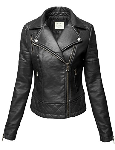 Wine Pu Faux leather Zipper Biker Leather Jackets, 004-Black, Large