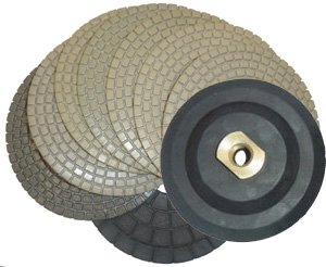 Dry Diamond Polishing Pads - Set of 8 with Free Back Holder