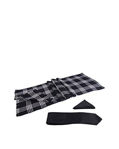 GIORGIO DI MARE Set: Sciarpa + Pochette da Taschino+ Cravatta [Nero/Bianco]