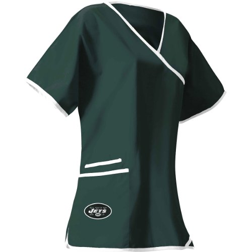 Women's New York Jets Mock Wrap Scrub Top Medium at Amazon.com