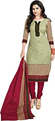 Women`s Green Colour Cotton Printed Dress Material