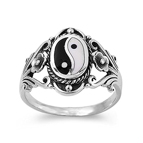 Sterling Silver Womans Chinese Yin Yang Ring Wholesale Comfort Fit 925 Band 18Mm Size 10 Valentines Day Gift