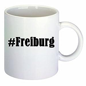 Kaffeetasse #Freiburg Hashtag Raute Keramik Höhe 9,5cm ? 8cm in Weiß
