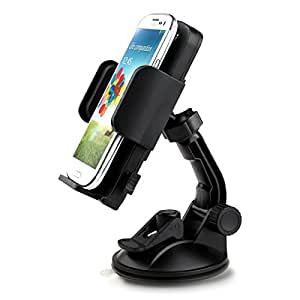 "iClever® ICH02 360 Degree Rotation Universal Windshield Dashboard Car Mount Cradle Holder for iPhone Samsung Galaxy HTC LG Sony Nokia Blackberry Motorola GPS and More (2.28""-4.72"" Extendable) - Black"