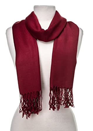 Noble Mount Solid Plain Pashmina with a Complimentary Gift - Burgandy