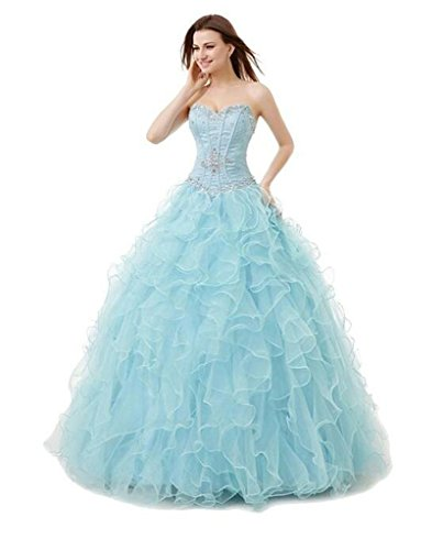 Long Shuang Fashionable Sweetheart Beaded Crystal Quinceanera Dresses Blue-24Plus