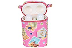 Ole Baby Teddy Checks Print Assorted Double Portable Infant Feeding Milk Food Bottle Thermal Warmer Bag Storage Holder (Upto 250ml each)