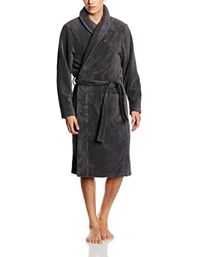 Tommy Hilfiger Herren Bademantel Icon bathrobe, Gr. X-Large, Schwarz (MAGNET 884)