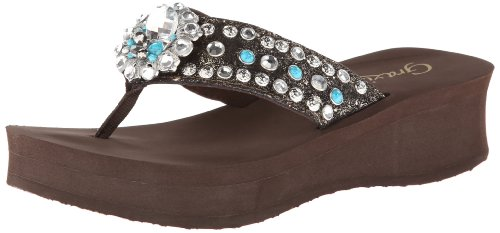 Grazie Women'S Rival Flip Flop,Brown,11 B Us back-858342