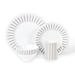 Mikasa Christmas Cheers Stripes 4 Piece Place Setting - Red|Green