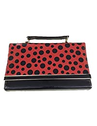 Slunk Red & Black Sling Bag With Polka Dots