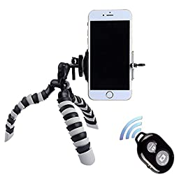 Tripod for iPhone - Peyou 3 in 1 Octopus Style Portable and Adjustable Tripod Stand + Phone Mount / Holder for iPhone 6s, iPhone 6 Plus, iPhone6, iPhone 5s 5 5c+Bluetooth Wireless Remote Shutter (Black and White)
