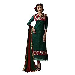 Resham Fabrics Green Chanderi & Bhagalpuri Dress Material