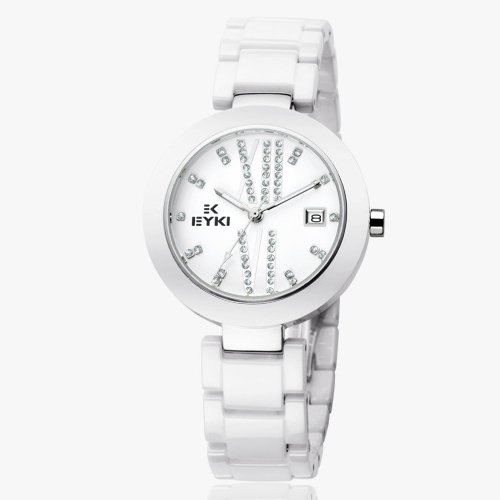 Ufingo-Fashion Best Nice Ceramic Quartz Watch Gift For Women/Girls/Ladies-White