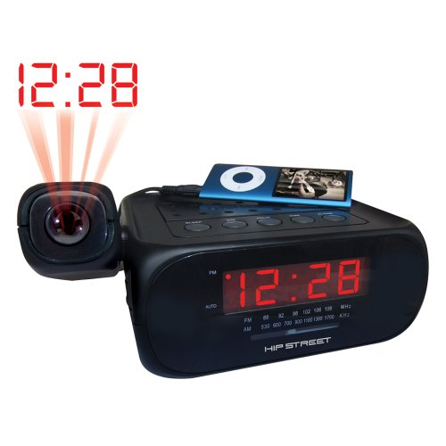Hip Street HS-CRP329 Projection Clock Radio with Aux-In (Black)